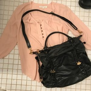 Badgley Mischka leather hobo bag purse large nice
